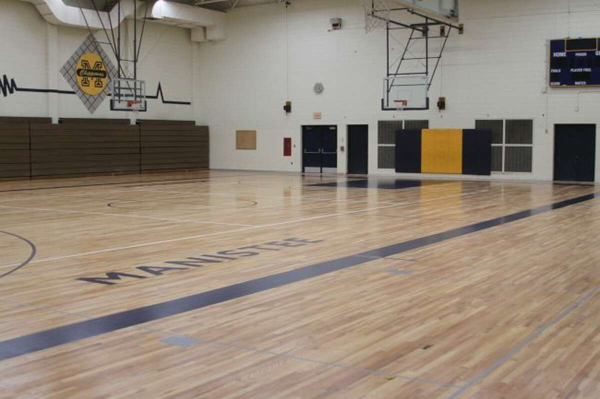 Both the Manistee Middle/High School and Kennedy Elementary School gymnasium floors (shown) were sanded down, painted and had new covering put on them this summer.