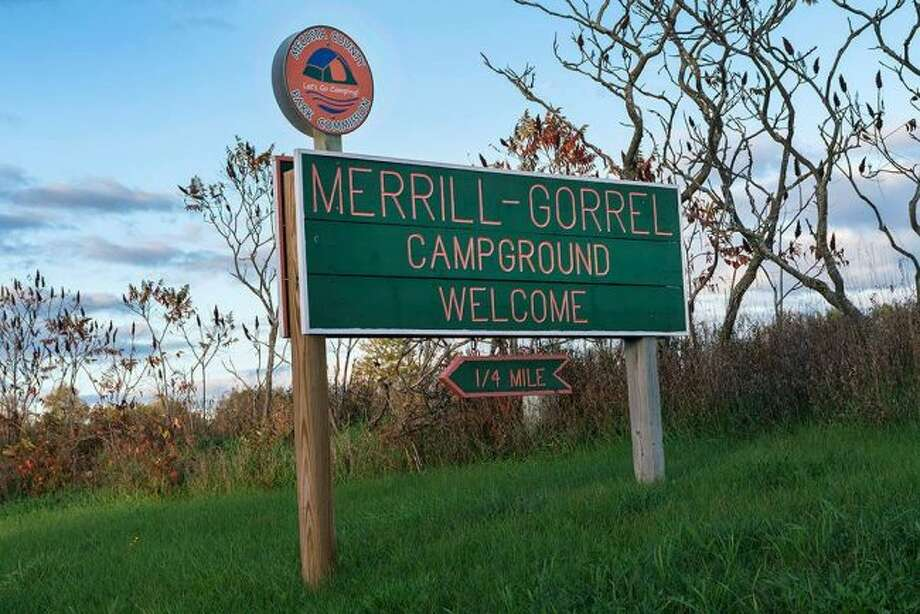 People are welcomed to Merrill-Gorrel as they arrive at the campground. This two-in-one park offers many amenities including swimming, fishing and paddle boarding. (Courtesy photo)