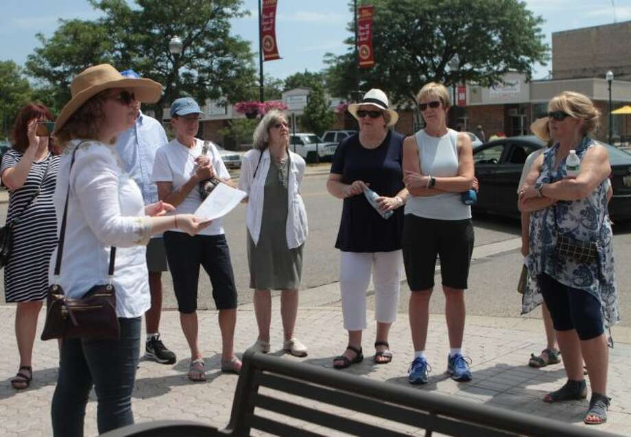 Big Rapids area residents participated in a walking tour led by Ferris State University professor Rachel Foulk Friday afternoon to view several pieces of art on display as part of the Detroit Institute of the Arts' Inside Out program. (Pioneer photo/Taylor Fussman)