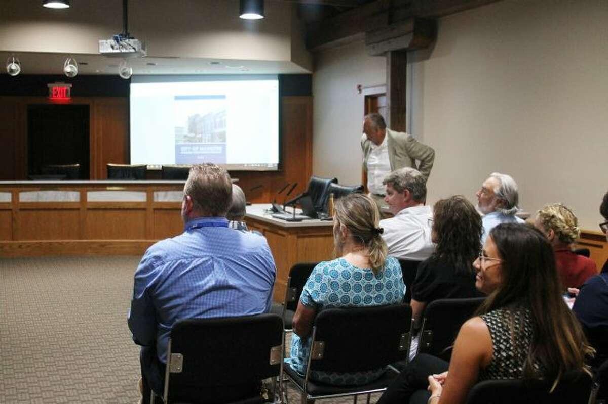 Joe Borgstrom, president of Place + Main Advisors, LLC, revealed details of Manistee's new economic development strategy. (Ashlyn Korienek/News Advocate)