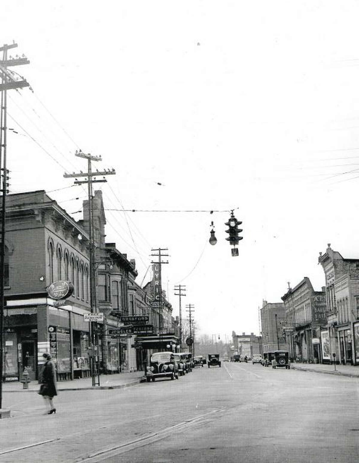 The old street lighting system on River Street is pictured shortly before the new system was installed. The view was taken at the corner of River and Maple Street looking west.