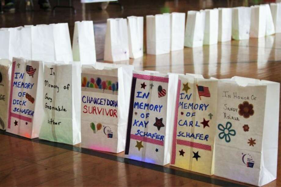 Luminaries can be decorated in memory of loved ones during for Relay For Life, which takes place this year from 2 p.m. to midnight on Saturday at Manistee High School. (News Advocate File Photo)