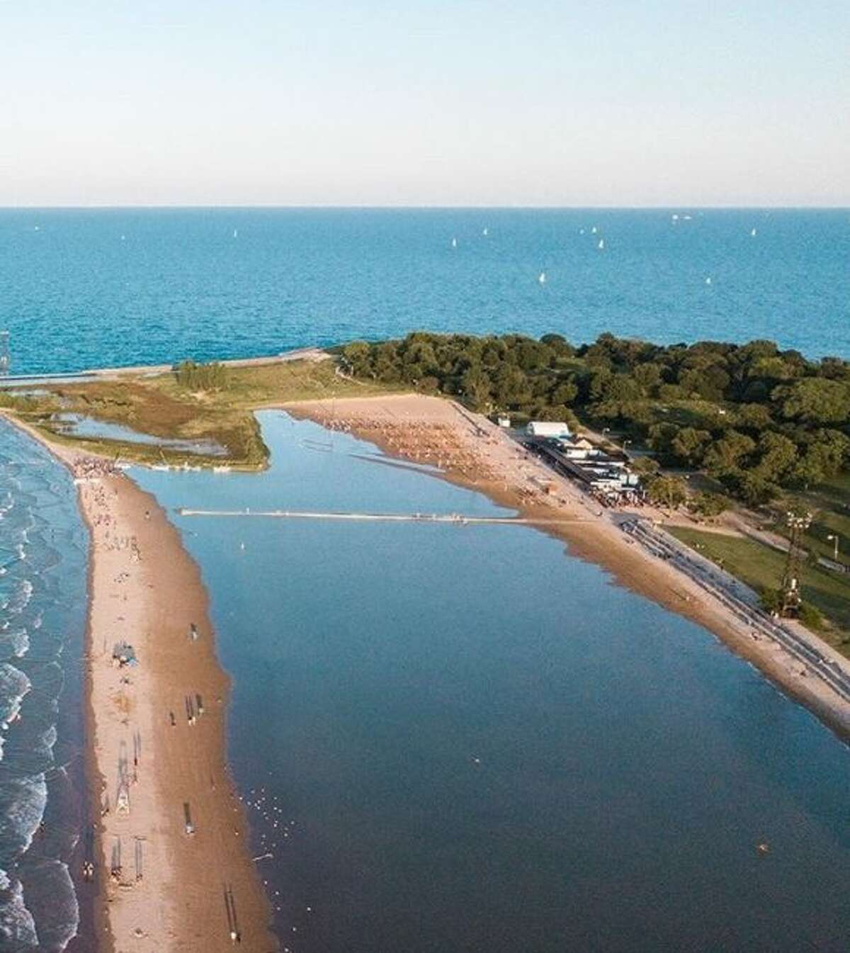 Lake Michigan covers Montrose Beach in Chicago. (Courtesy photo/Mike Killion)