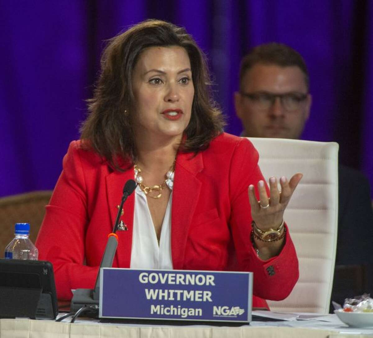 In this July 26, 2019, file photo, Michigan Gov. Gretchen Whitmer speaks during a session at the National Governor's Association conference in Salt Lake City. Five Democratic governors of states in the Great Lakes region want candidates in next year's presidential election, including President Trump, to back a plan for protecting their freshwater resources. Led by Whitmer, the governors on Monday, July 29, 2019, proposed a six-point platform that seeks increases in federal spending on water treatment infrastructure and environmental cleanups. (Rick Egan/The Salt Lake Tribune via AP, File)