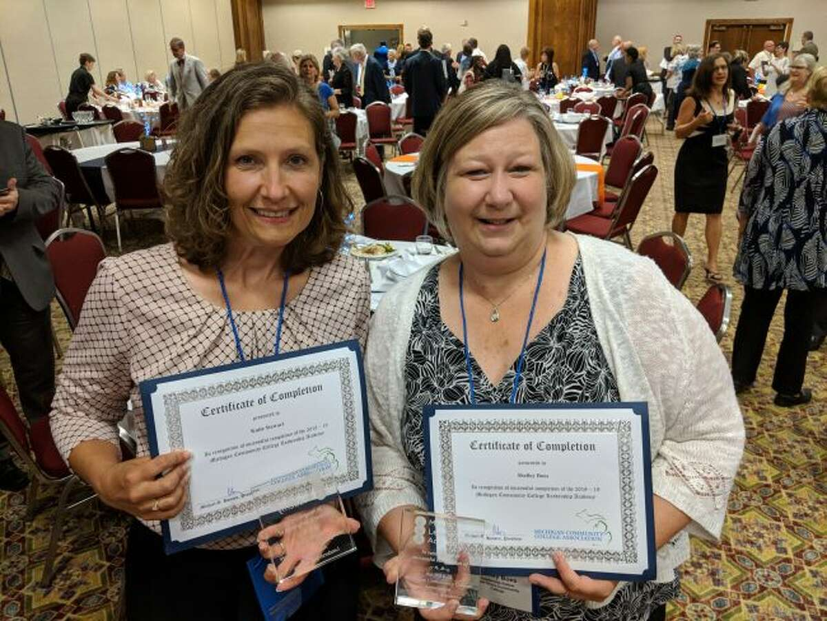 West Shore Community College associate professor of marketing/management Katie Stewart (left) and Shelley Boes (right), director of nursing and allied health, recently graduated from the Michigan Community College Leadership Academy organized by the Michigan Community College Association (MCCA).