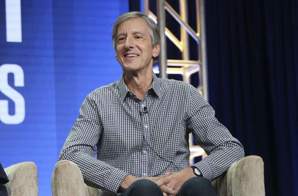 """Andy Borowitz speaks in PBS's """"Retro Report"""" panel at the Television Critics Association Summer Press Tour on Tuesday, July 30, 2019, in Beverly Hills, Calif. (Photo by Willy Sanjuan/Invision/AP)"""
