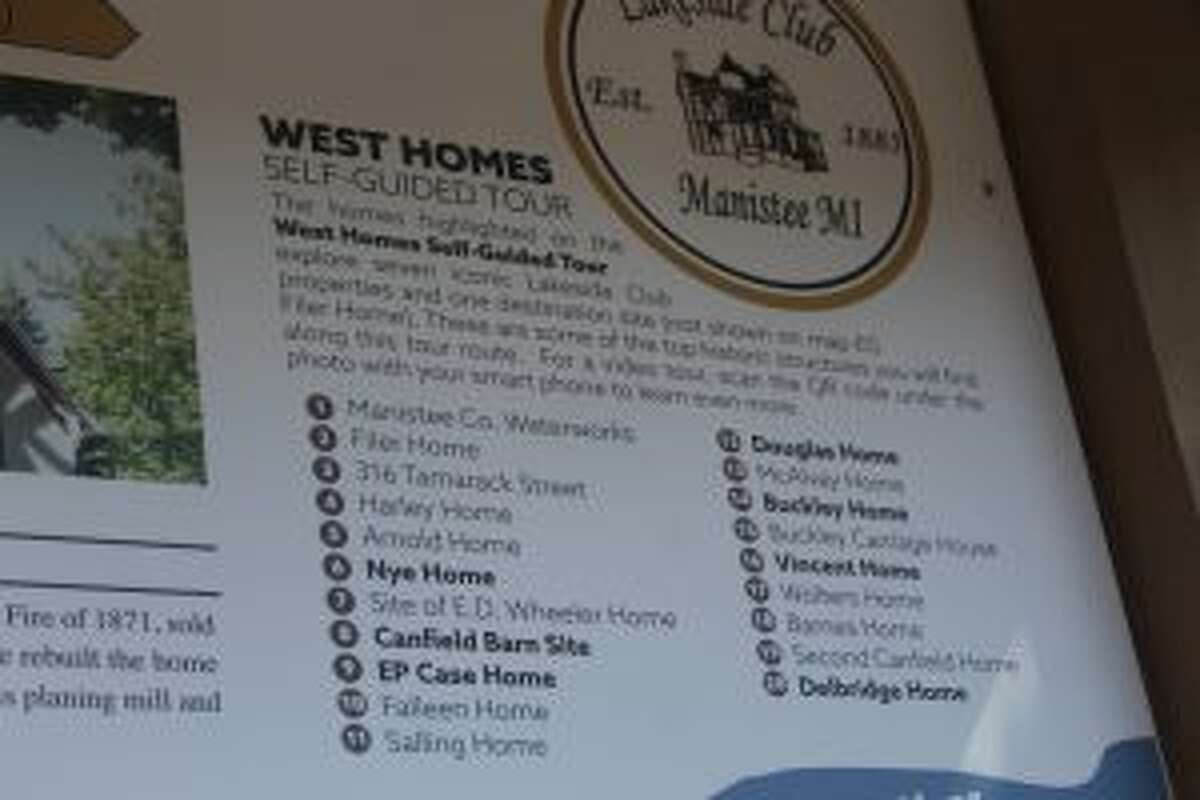 """The new """"Historic Homes in Manistee"""" display on River Street leads visitors on a self-guided walking tour. (Scott Fraley/News Advocate)"""