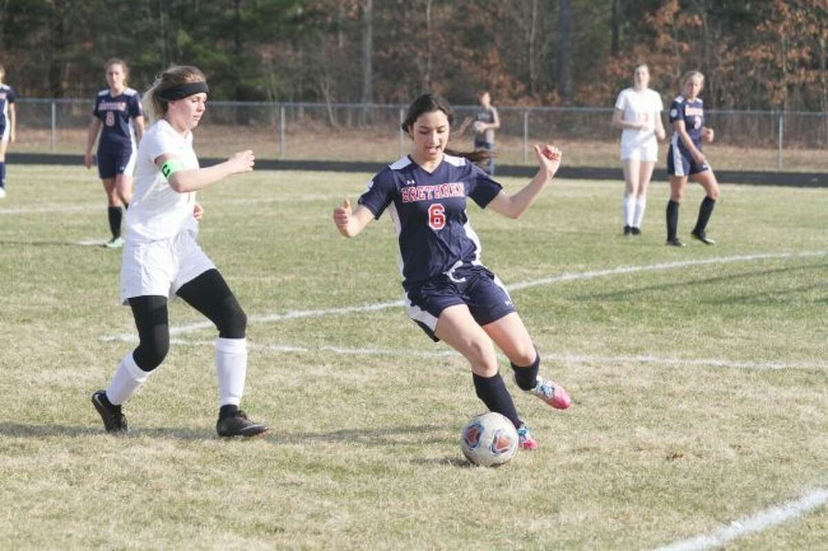 Brethren's Eleni Guenther was among six Brethren soccer players who earned postseason recognition for their efforts in the 2019 season. (News Advocate file photos)