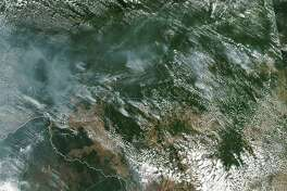 NASA's Aqua satellite captured this image of fires burning in the Amazon rainforest on Aug. 13.
