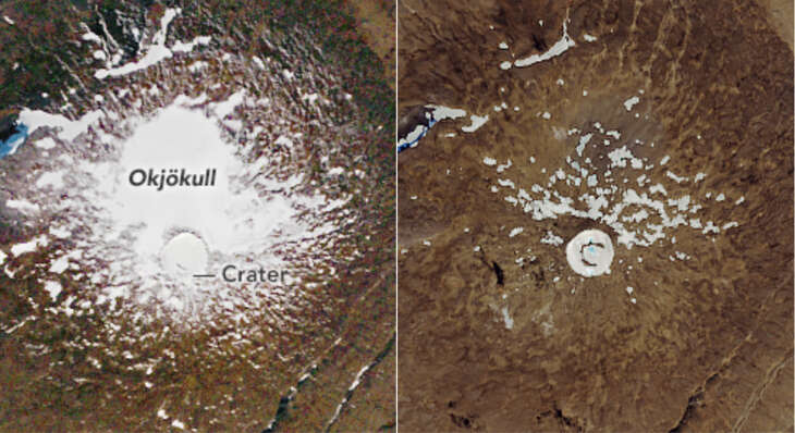 The melting of the Okjokull glacier in Iceland is vividly displayed in these NASA Eartyh Obeservatory photos. The image on the left was taken September 14, 1986. The image on the right was taken August 1, 2019.