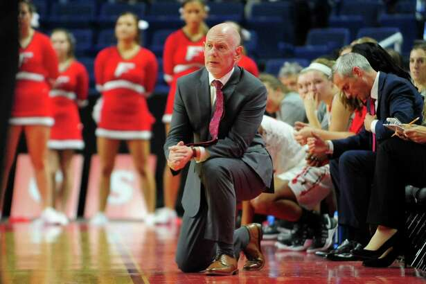 Fairfield University Head Coach Joe Frager during women's college basketball action against Sacred Heart University at the Webster Bank Arena in Bridgeport, Conn. on Friday Nov. 11, 2016.