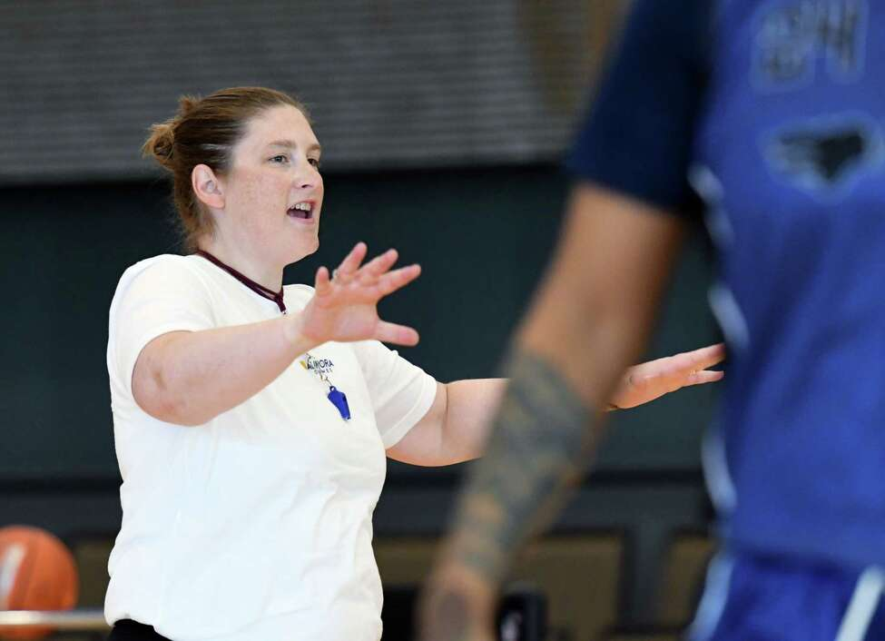 Longtime WNBA star Lindsay Whalen coaches the Team Americas basketball squad during practice for the Aurora Games on Wednesday, Aug. 21, 2019, at the Capital Center in Albany, N.Y. (Will Waldron/Times Union)