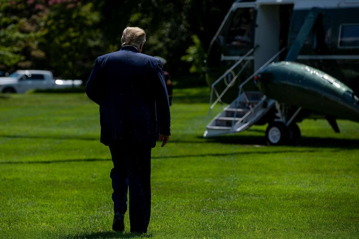 """President Donald Trump walks to Marine One after speaking to reporters at the White House, in Washington, on Wednesday, Aug. 21, 2019. Trump on Wednesday thanked a conspiracy theorist for saying Jews in Israel love the president """"like he's the King of Israel,"""" and doubled down in his efforts to pit American Jews against one another, accusing Jewish voters of disloyalty if they voted for Democrats. (Anna Moneymaker/The New York Times)"""