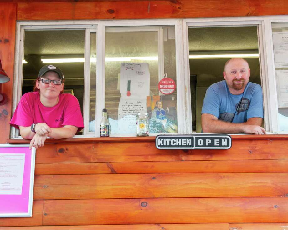 Heather and Brian Valade, proprietors of the Curvy Girls Food Truck and Catering, while on Route 9 in Halfmoon on Friday, Aug. 16, 2019 (Jim Franco/Special to the Times Union.) Photo: James Franco / 20047666A