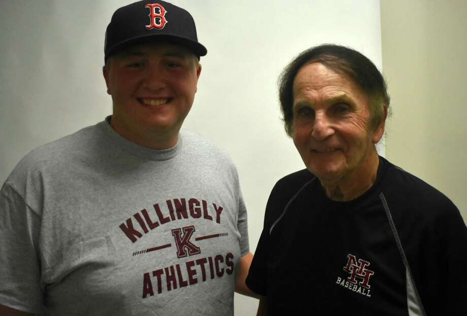 Killingly's Ben Desaulnier, left, and North Haven's Bob DeMayo discussed high school baseball on a recent podcast. Desaulnier is the youngest baseball coach in the state at 21. DeMayo is planning on coaching his 62nd season this coming spring. Photo: Pete Paguaga / Hearst Connecticut Media