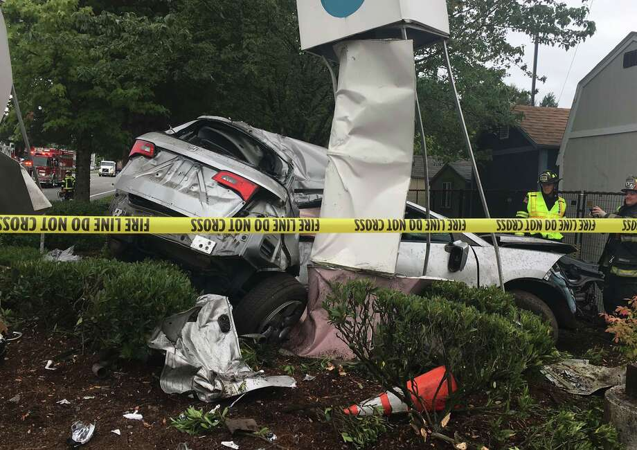 Two vehicles crashed outside a Home Depot in the 18000 block of 120th Avenue NE in Bothell. Both drivers were transported to the hospital. Southbound lanes in the area will be closed for an investigation. Photo: Courtesy Bothell Police