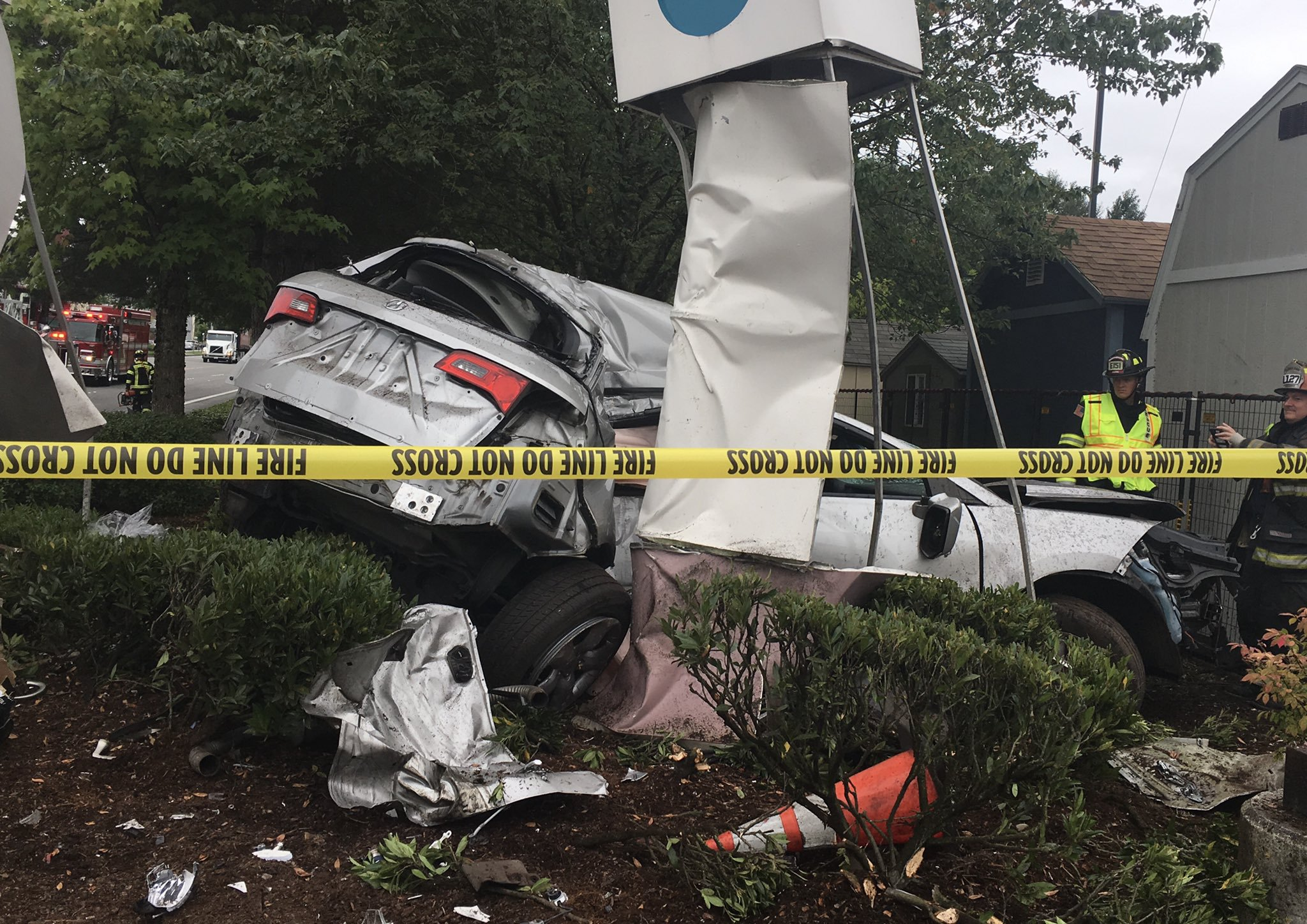 Two drivers hospitalized after crash outside Home Depot in Bothell