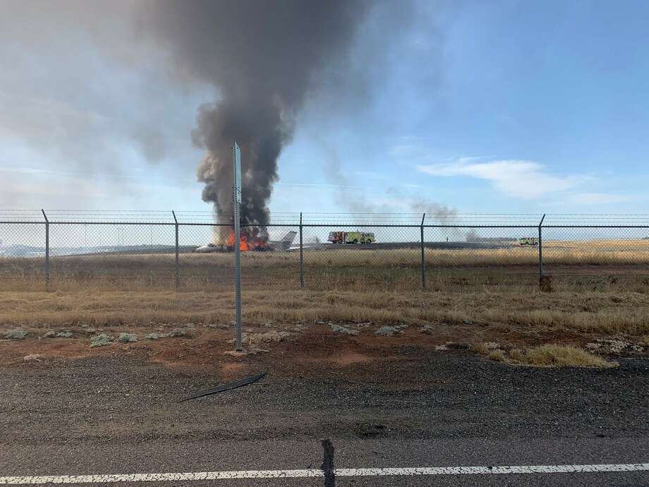 A small plane caught fire after a failed takeoff Wednesday. Photo: CHP Oroville