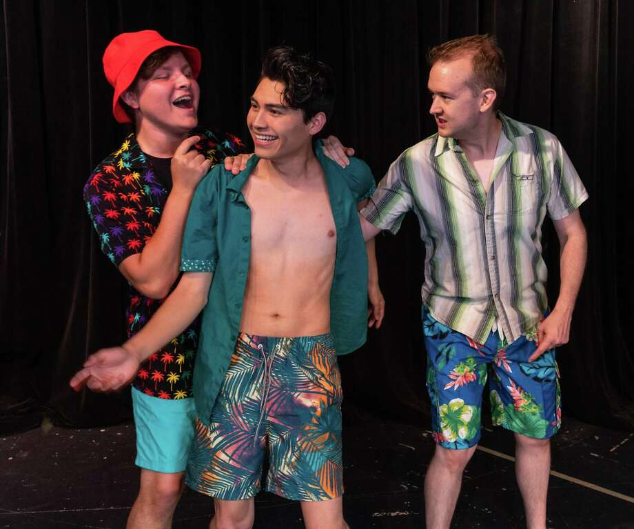 "From left, Alec Patton as Pepper, David Martinez as Sky and Philip Harris as Eddie in The Players Theatre Company's ""Mamma Mia."" Photo: Photo Courtesy The Players Theatre Company / PEDRO MATA III"