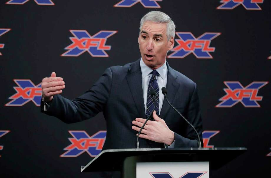 >> Click ahead to see each team's name and logo.  FILE - In this Feb. 25, 2019, file photo, XFL Football Commissioner Oliver Luck talks to reporters before introducing former NFL football quarterback Jim Zorn as the head coach for Seattle's XFL football team, in Seattle. Oliver Luck's first year as the XFL's commissioner has mostly been confined to the office and getting the league's framework set up. The next couple months though are what Luck refers to as the fun part of preparing for next year's return. (AP Photo/Ted S. Warren, File) Photo: Ted S. Warren / Associated Press / Copyright 2019 The Associated Press. All rights reserved.