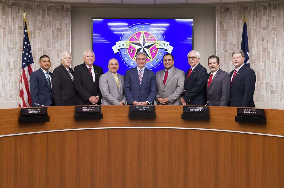 Pasadena City Council has been divided over the issue of who should be mayor pro tem, voting on Aug. 21 to elect Thomas Schoenbein of District H, right, and Cary Bass of District G, second from right, to the post, with each to serve one year in the position. Photo: Courtesy Photo