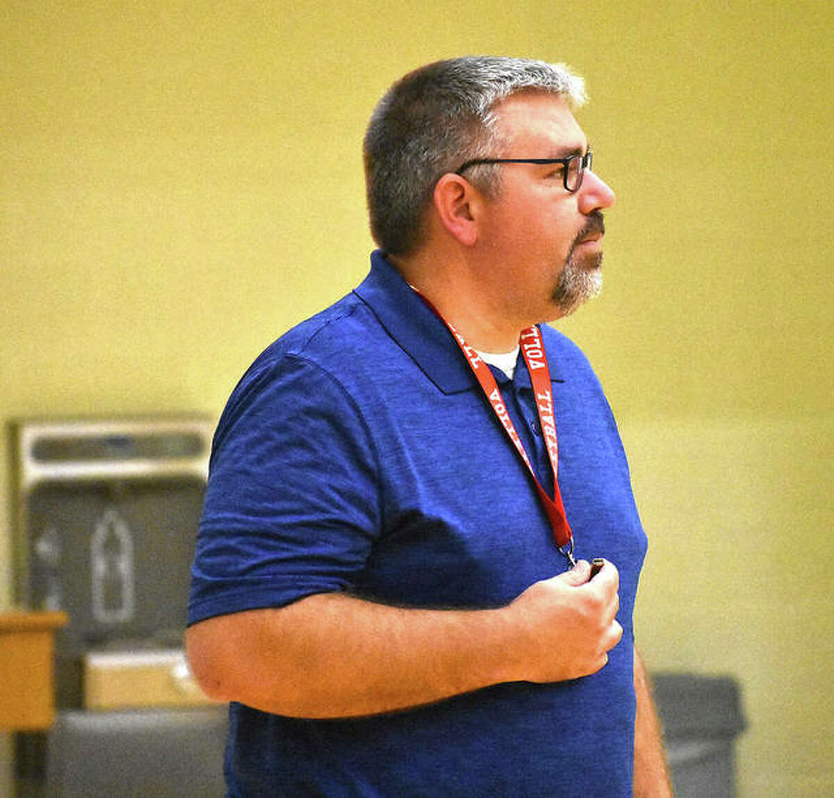 FMCHS coach Paul Vieth watches from the sideline during a scrimmage on Tuesday.