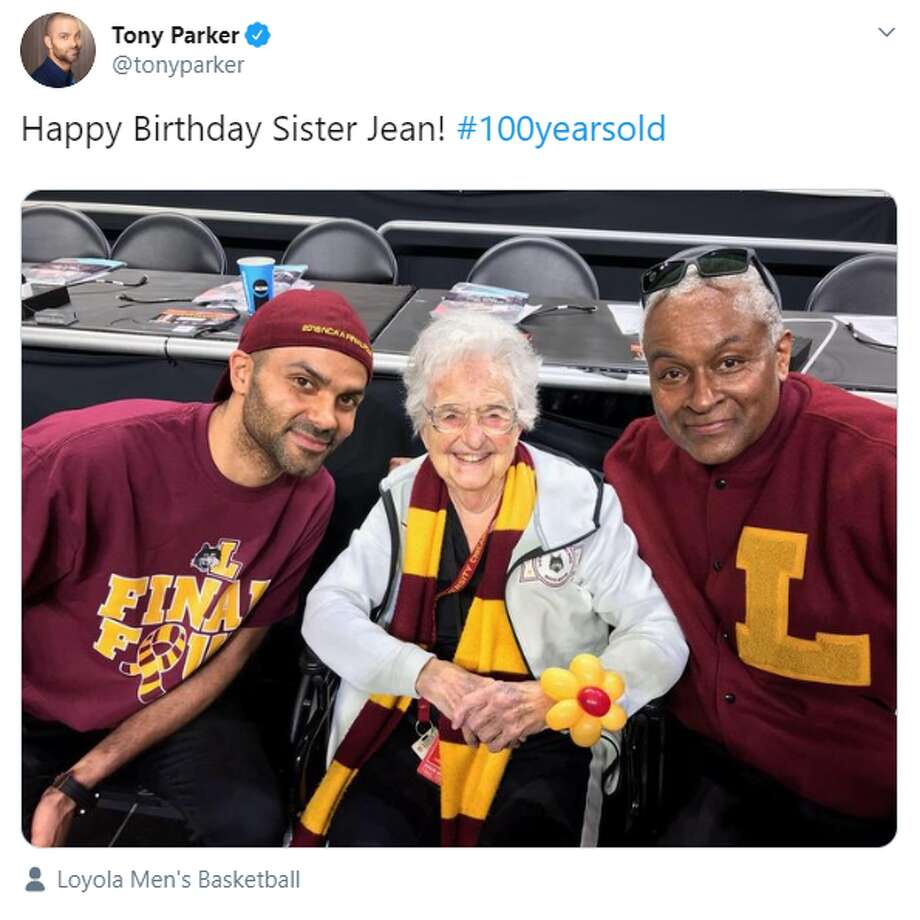 Loyola University's Sister Jean Dolores Shmidt turned 100 Wednesday and got a shoutout from former Spurs player Tony Parker. Photo: Twitter Screengrab