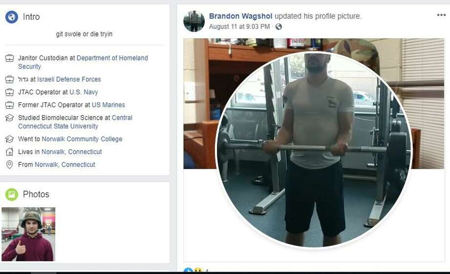 Screenshots from social media sites linked to Brandon Wagshol. Photo: Courtesy Of Facebook / Norwalk Hour