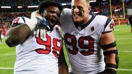 Ends D.J. Reader (98) and J.J. Watt are key components of a Texans defense that last season allowed 82.7 rushing yards per game, ranking third in the NFL.