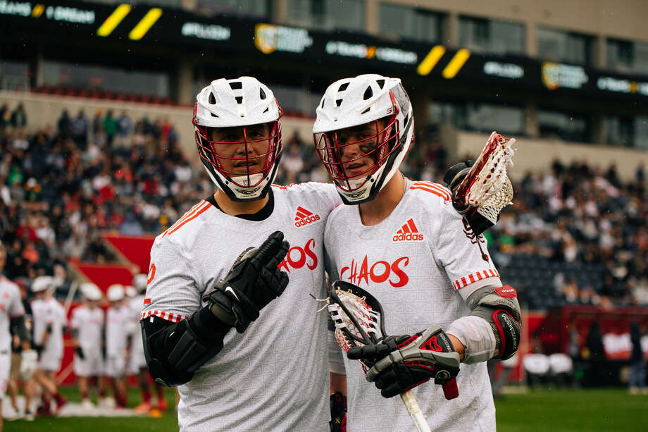 UAlbany alumni Miles Thompson, left, and Connor Fields of the Chaos of the Premier Lacrosse League. (Courtesy of Premier Lacrosse League) Photo: Courtesy Of Premier Lacrosse League