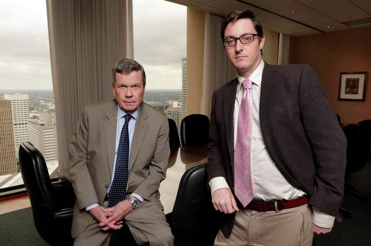 Houston lawyers Richard Mithoff, left, and Warner Hocker with Mithoff Law. They represented the children of an American couple killed in the crash of Air France Flight 447, shown at their offices Tuesday, Jul. 23, 2019 in Houston, TX.