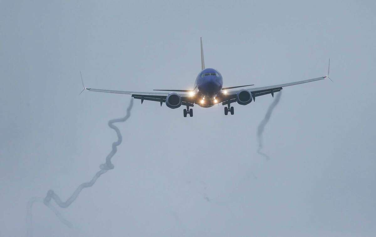 A Boeing 737 Max 8 operated by Southwest Airlines arrives for a landing at Hobby Airport on Wednesday, March 13, 2019 in Houston. The flight was already in the air on its way to Houston from Las Vegas when an emergency order grounding all 737 Max 8 and Max 9 aircraft was issued.