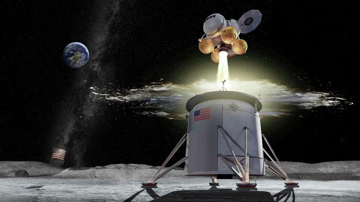 This illustration provided by NASA shows a proposed design for an Artemis program ascent vehicle leaving the surface of the moon, separating from a descent vehicle. NASA and private companies are ramping up their launch plans, increasing the need for better understanding of the environmental effects.