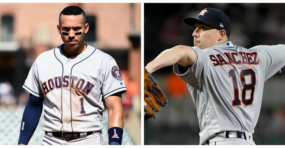 PHOTOS: Astros game-by-game Split photo of Astros shortstop Carlos Correa and starting pitcher Aaron Sanchez. Both players have been placed on the injured list. Browse through the photos to see how the Astros have fared in each game this season. Photo: Getty Images