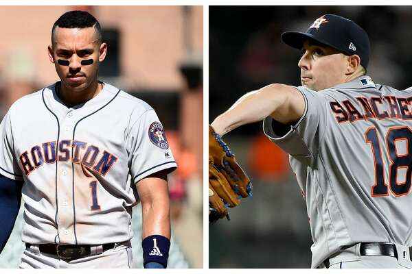 Split photo of Astros shortstop Carlos Correa and starting pitcher Aaron Sanchez. Both players have been placed on the injured list.