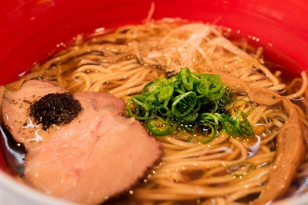 Tsuta's specialty is the shoyu ramen, served with char siu, bamboo shoots and a black truffle sauce.