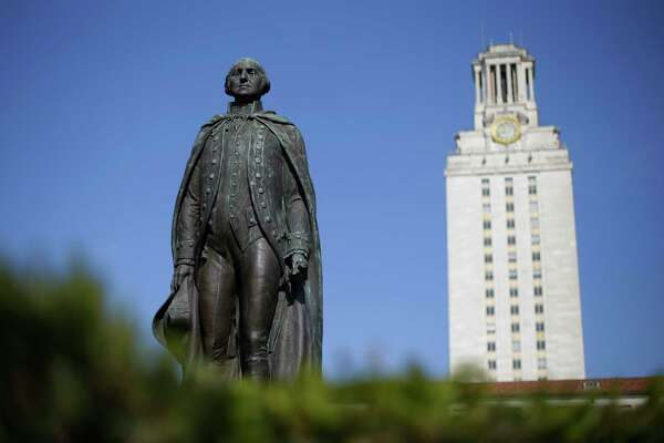 A statue of George Washington stands near the University of Texas Tower at the center of campus, Thursday, Nov. 29, 2012, in Austin, Texas. If colleges were automobiles, the University of Texas at Austin would be a Cadillac: a famous brand, a powerful engine of research and teaching, a pleasingly sleek appearance. Even the price is comparable to the luxury car's basic model: In-state tuition runs about $40,000 for a four-year degree. (AP Photo/Eric Gay)