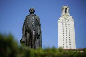 A statue of George Washington stands near the University of Texas Tower at the center of campus, Thursday, Nov. 29, 2012, in Austin, Texas. If colleges were automobiles, the University of Texas at Austin would be a Cadillac: a famous brand, a powerful engine of research and teaching, a pleasingly sleek appearance. Even the price is comparable to the luxury car's basic model: In-state tuition runs about $40,000 for a four-year degree.