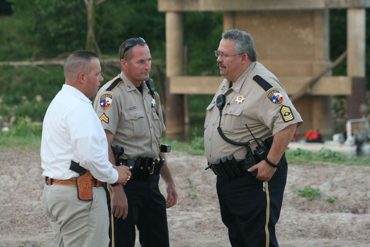 Capt. Rex Evans, Deputy James McQueen and Sgt. Brent Slaughter, representing the Liberty County Sheriff's Office, worked with the Tarkington, Hardin, North Liberty County and Cypress Lakes fire departments to coordinate a search for a missing 51-year-old man who is presumed to have drowned in the Trinity River at the SH 105 bridge in Moss Hill on Saturday, June 9.