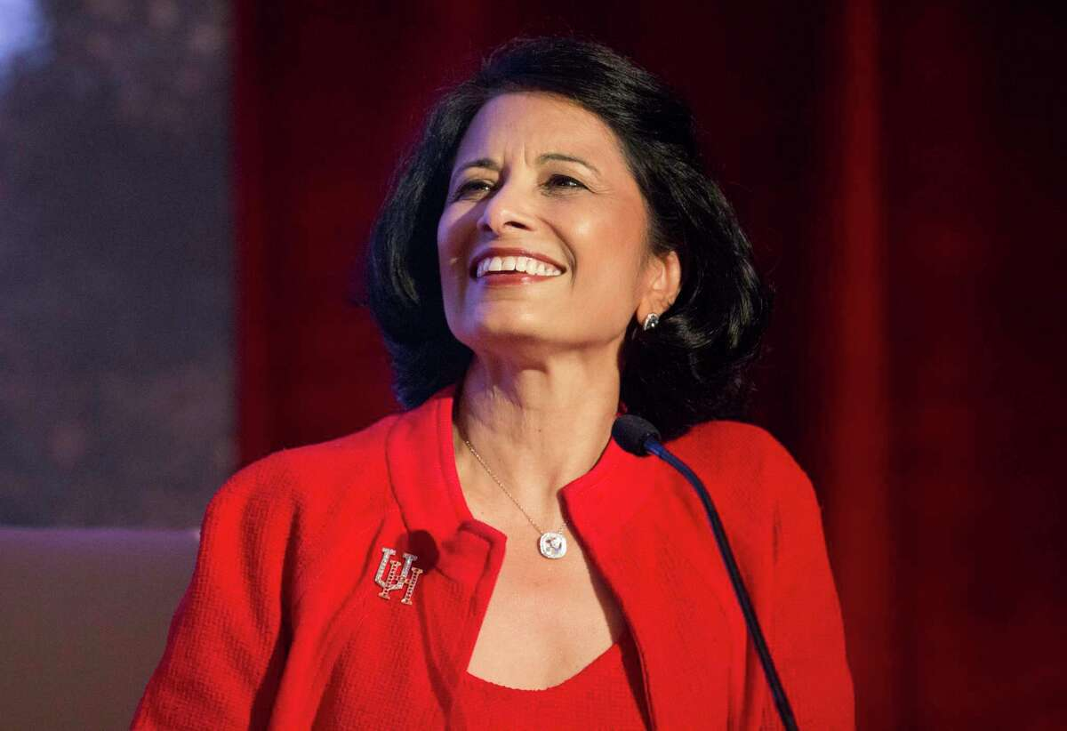 University of Houston President Renu Khator shares the process of forming the University of Houston College of Medicine during the bill signing ceremony on Wednesday, Aug. 21, 2019, in Houston. Gov. Greg Abbott, who officially signed HB826 bill into law in May, signed the bill again during the ceremony.