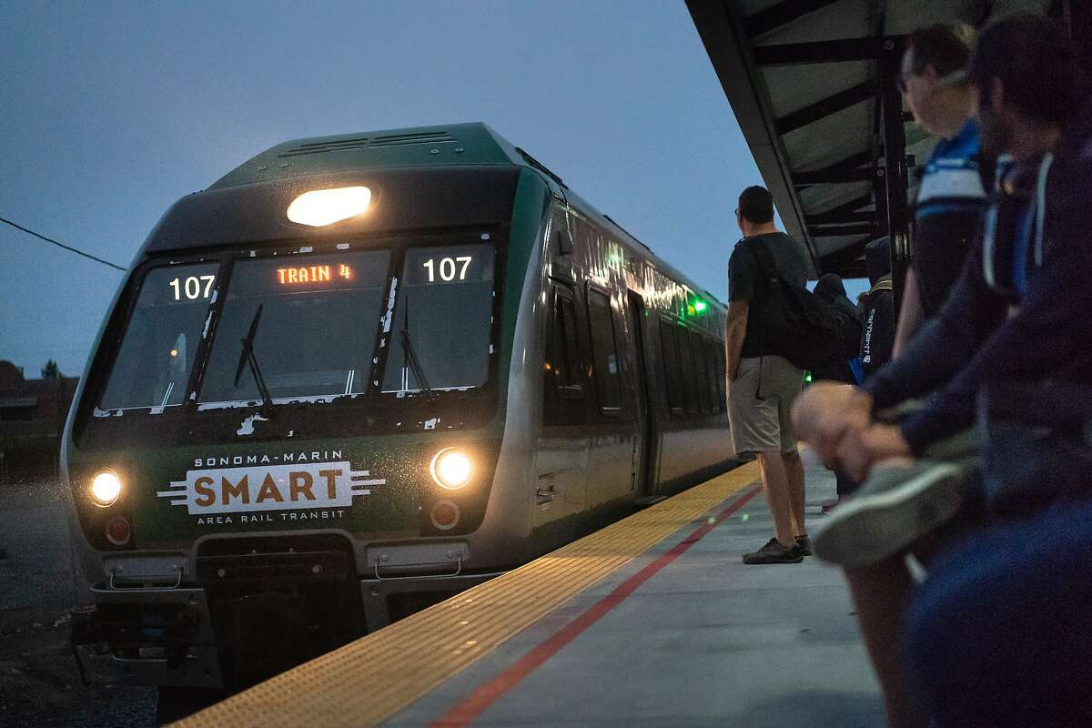 A SMART train arrives at the Santa Rosa Downtown station on Tuesday, Aug. 20, 2019, in Santa Rosa, CA.