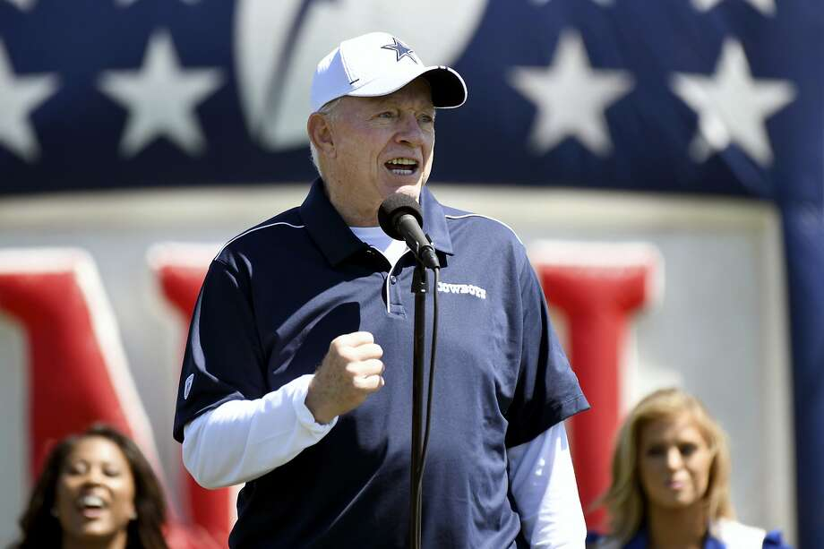 Dallas Cowboys owner Jerry Jones welcomes fans to his team's opening practice at the NFL football team's training camp in Oxnard, Calif., Saturday, July 27, 2019. (AP Photo/Michael Owen Baker) Photo: Michael Owen Baker, Associated Press