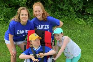 Charlotte and her Challenger Baseball Buddies (Nicole Clark and Sally Carter) and sister Claire, Darien Little League