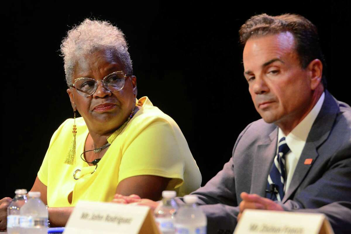 State Senator Marilyn Moore, left, and Mayor Joe Ganim take part in the 2019 Bridgeport Mayoral Forum at Klein Memorial Auditorium in Bridgeport, Conn., on Wednesday August 21, 2019. The forum is sponsored by AARP Connecticut and Bridgeport Generation Now.