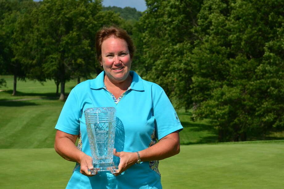 Mary Sicard of the Queensbury Ballston Spa Country Club, winner of the New York State Women's Senior Amateur Tuesday, Aug. 15, 2017, at the Corning Country Club (Dan Thompson/NYSGA)