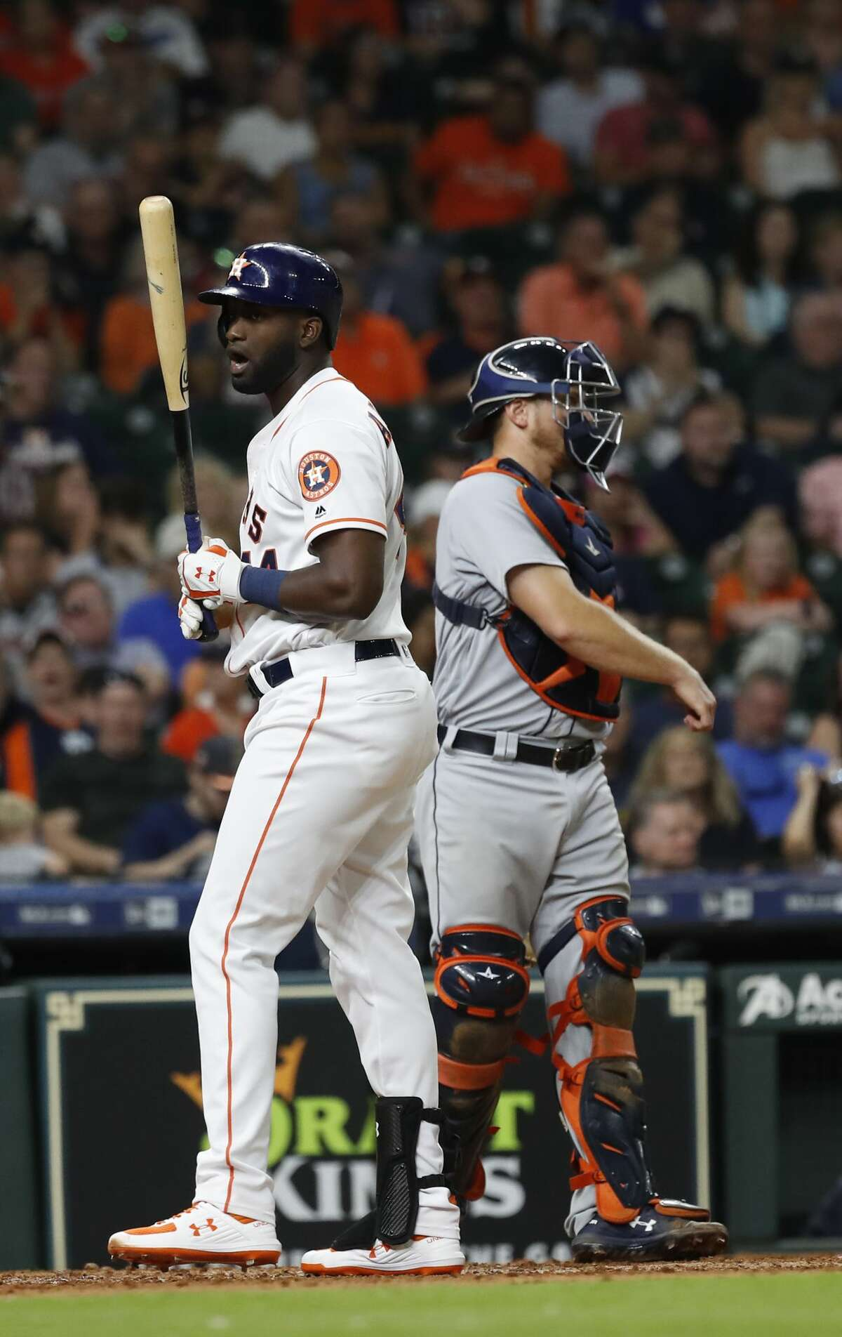 Houston Astros designated hitter Yordan Alvarez (44) reacts after striking out during the ninth inning of an MLB game at Minute Maid Park, Wednesday, August 21, 2019.