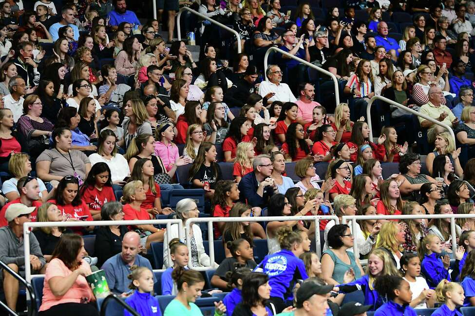 There were many girls from local gyms for the gymnastics event at the Aurora Games held at the Times Union Center on Wednesday, Aug. 21, 2019 in Albany, N.Y. (Lori Van Buren/Times Union)