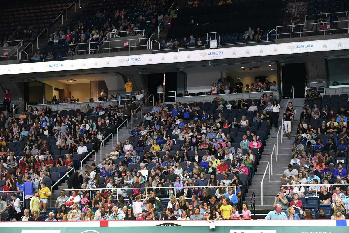 The crowd was bigger for the gymnastics event at the Aurora Games held at the Times Union Center on Wednesday, Aug. 21, 2019 in Albany, N.Y. (Lori Van Buren/Times Union)