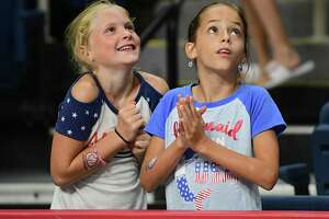 Two young fans were star struck before going back to their seats during the gymnastics event at the Aurora Games held at the Times Union Center on Wednesday, Aug. 21, 2019 in Albany, N.Y. (Lori Van Buren/Times Union)