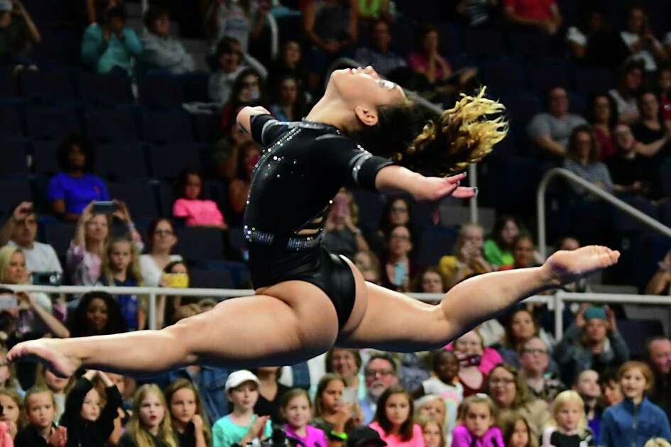 Team Americas' Katelyn Ohashi performs during the artistic floor exercise gymnastics event at the Aurora Games held at the Times Union Center on Wednesday, Aug. 21, 2019 in Albany, N.Y. The floor exercise was part two of the artistic event with balance beam being first. (Lori Van Buren/Times Union)